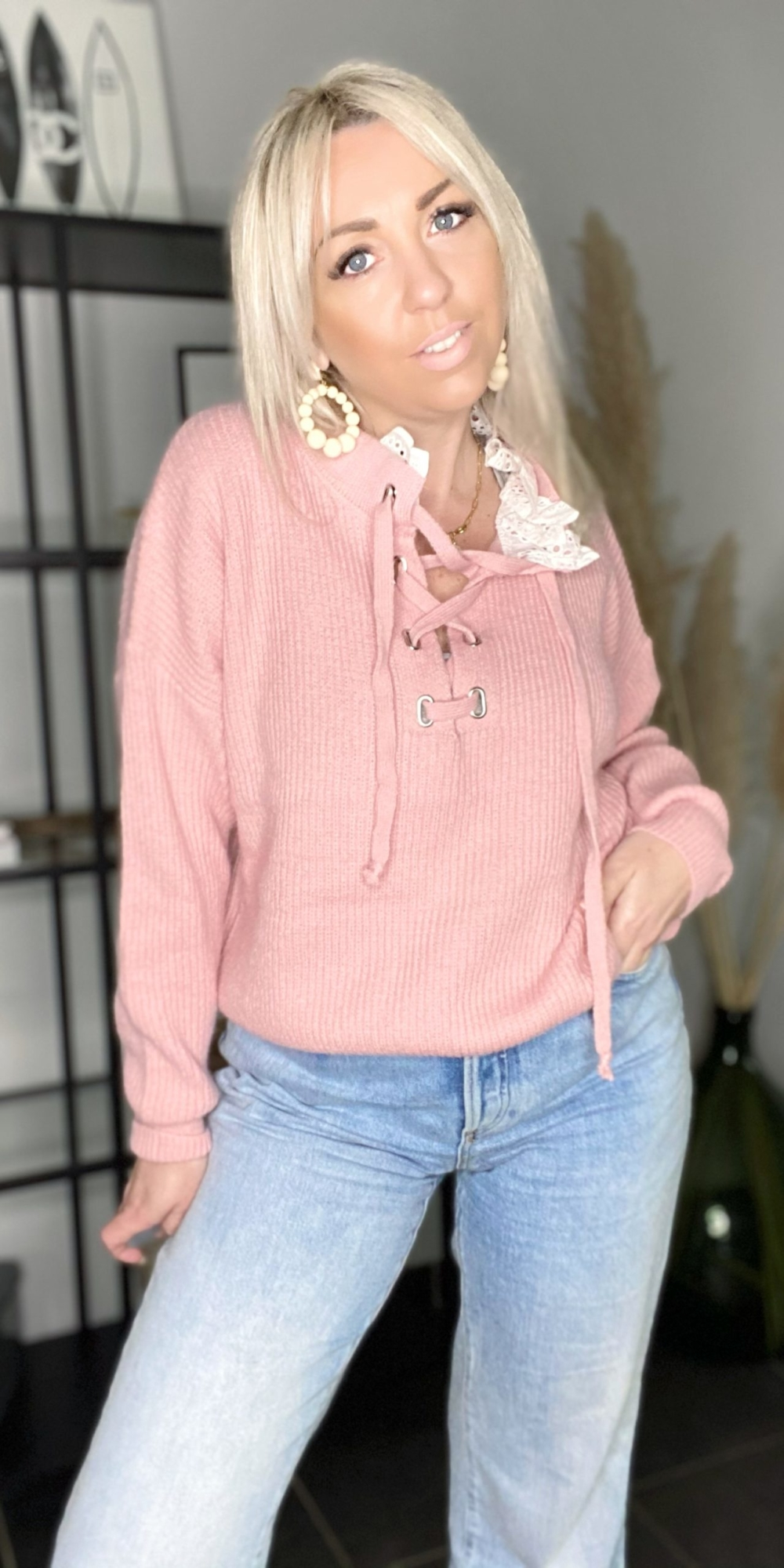 PULL LACET COLOMBE ROSE